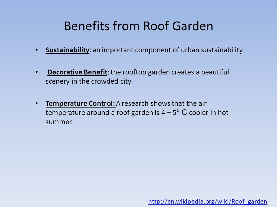Benefits from Roof Garden. Water Sustainability in Commercial and Residential Buildings   ppt
