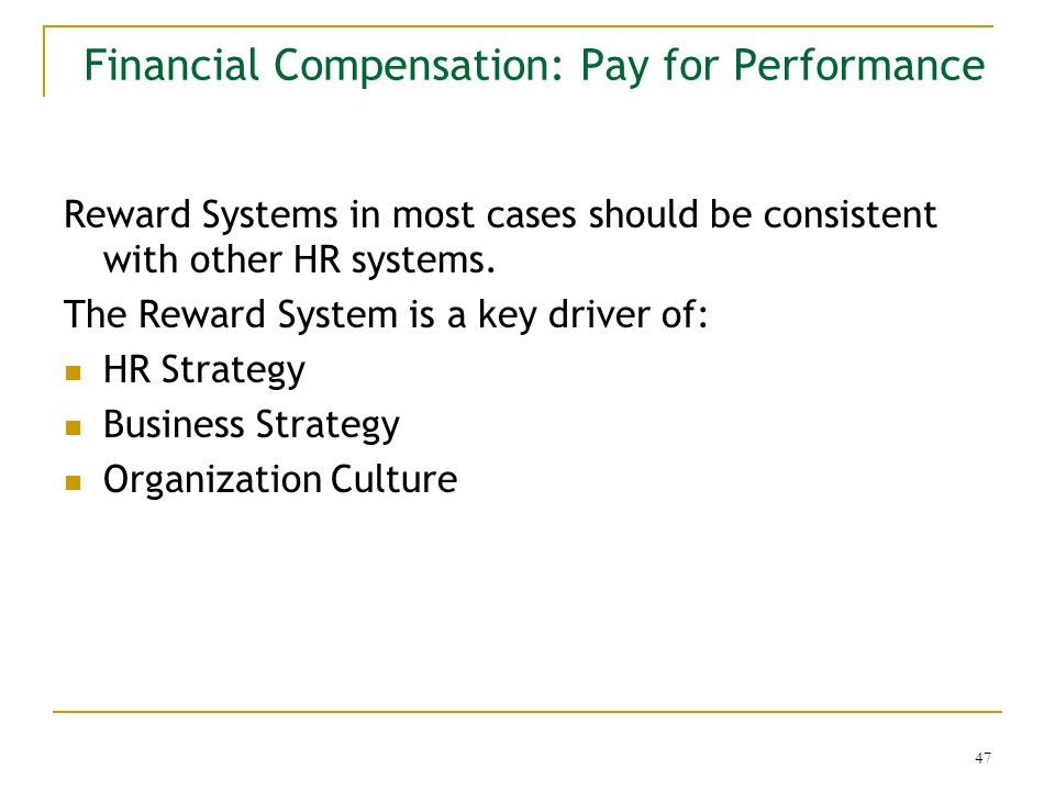 3 1 pay for performance and compensation