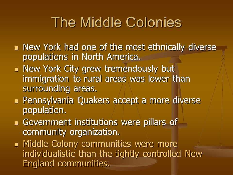 The Middle Colonies New York had one of the most ethnically diverse populations in North America.