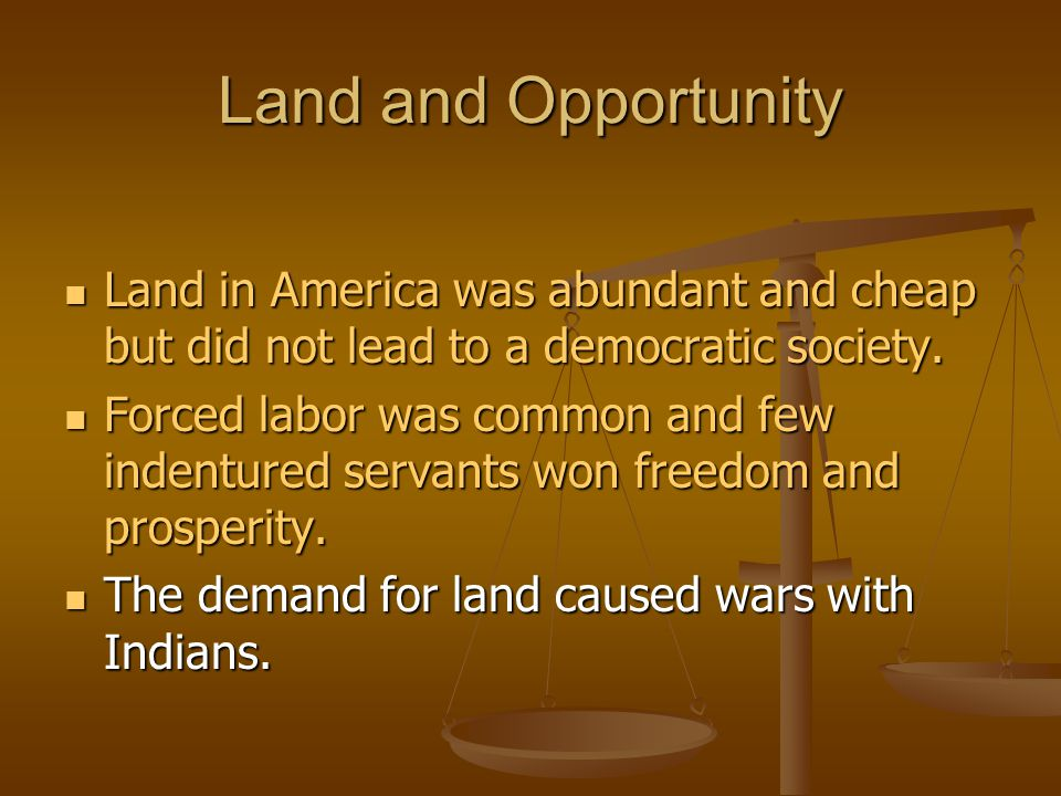 Land and Opportunity Land in America was abundant and cheap but did not lead to a democratic society.