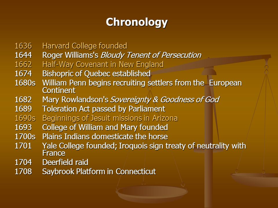 Chronology 1636 Harvard College founded