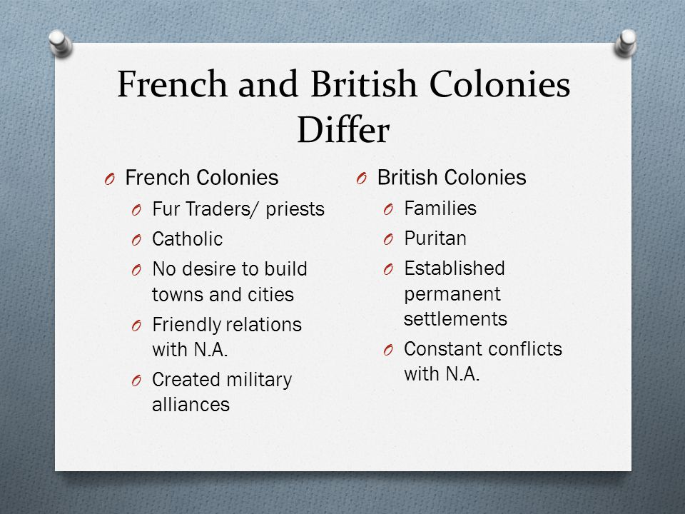 French and British Colonies Differ