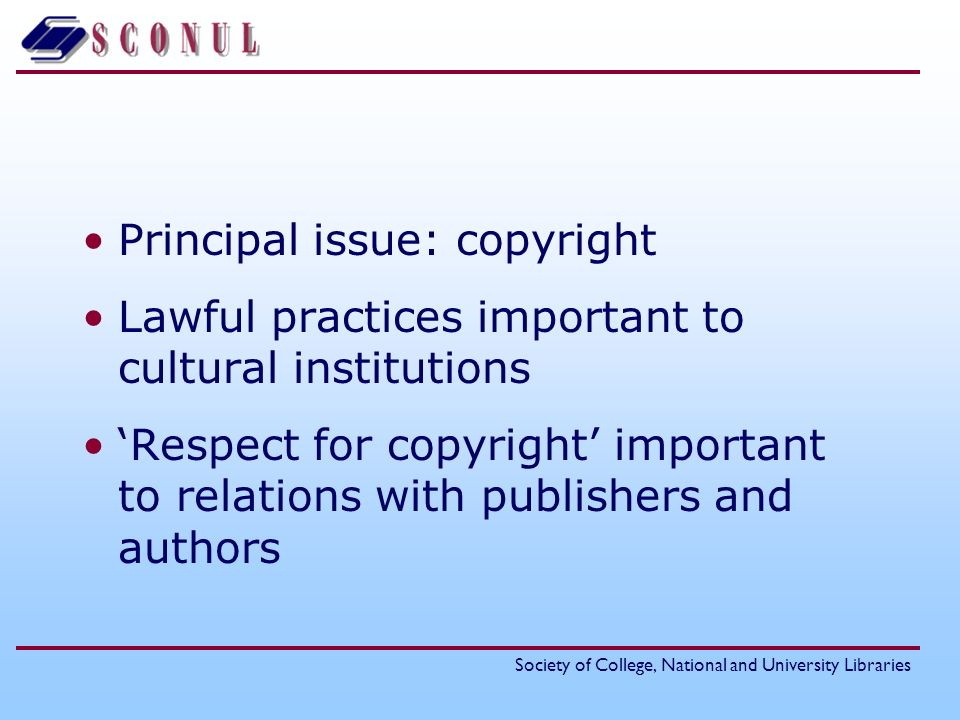 Principal issue: copyright