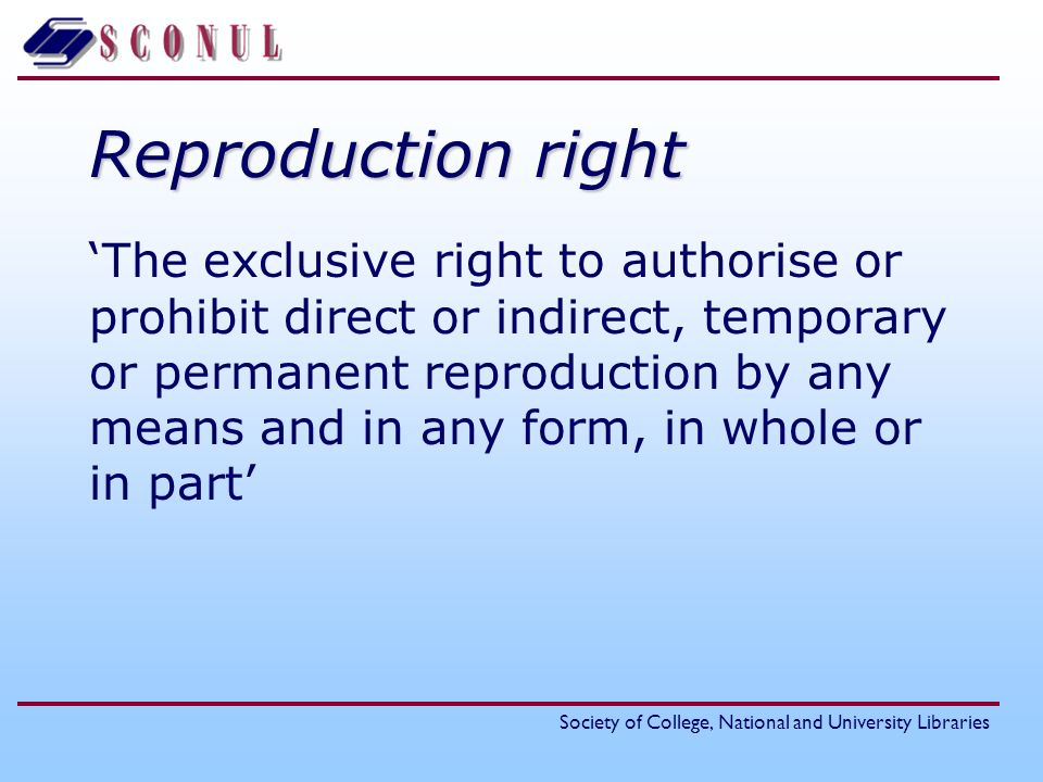 Reproduction right