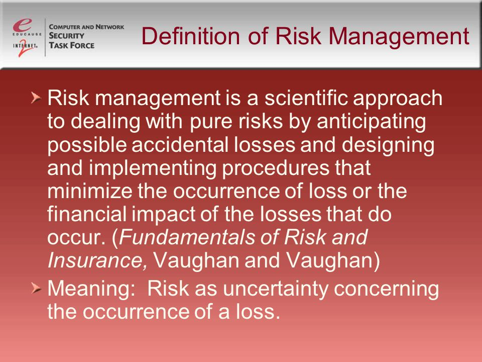 define risk This is the definition of risk that we will adhere to in this book because it captures perfectly both the essence of risk and the.