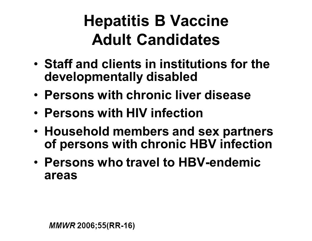 Hepatitis B Vaccine Adult Candidates