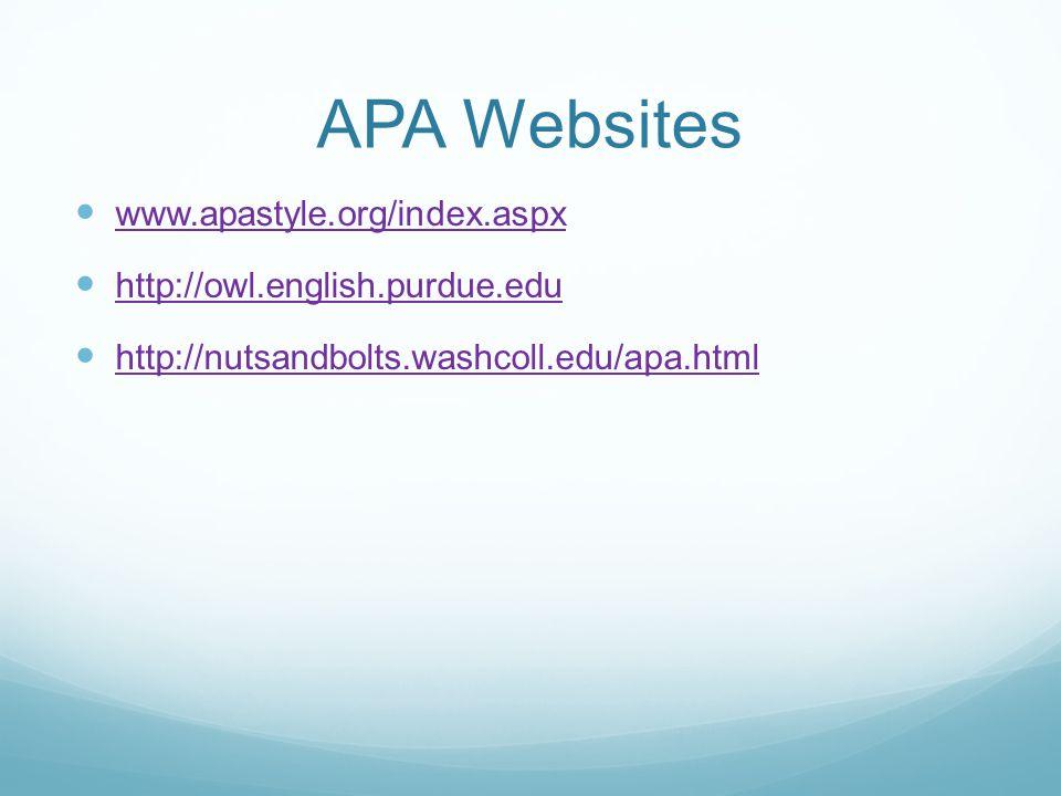 Basics of APA Style Tutorial