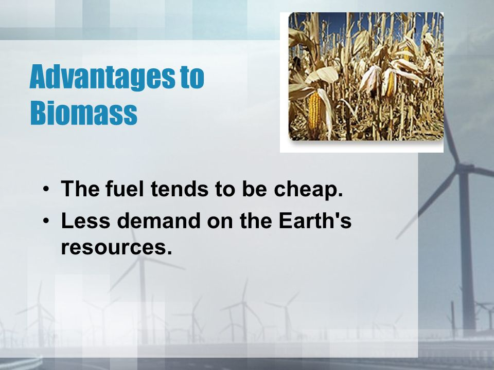 Advantages to Biomass The fuel tends to be cheap.