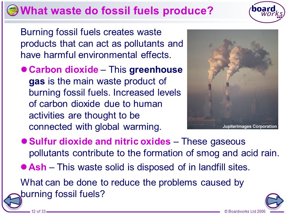 What waste do fossil fuels produce