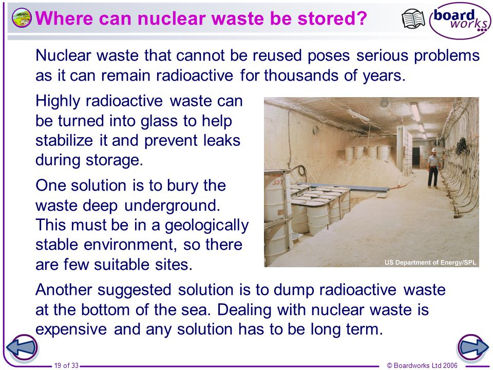 Where can nuclear waste be stored
