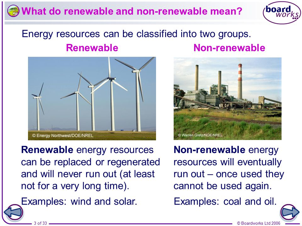 What do renewable and non-renewable mean