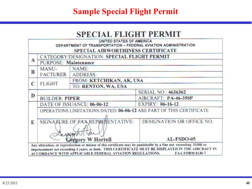Understanding airworthiness ppt video online download sample special flight permit yelopaper Image collections