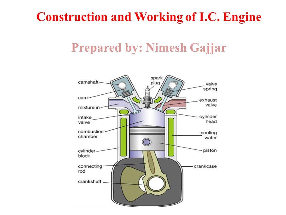 1 construction and working of i c  engine prepared by: nimesh gajjar