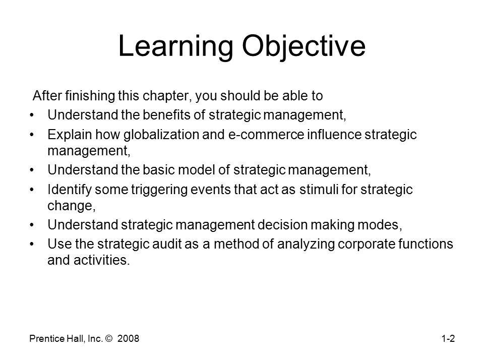 Learning Objective After finishing this chapter, you should be able to