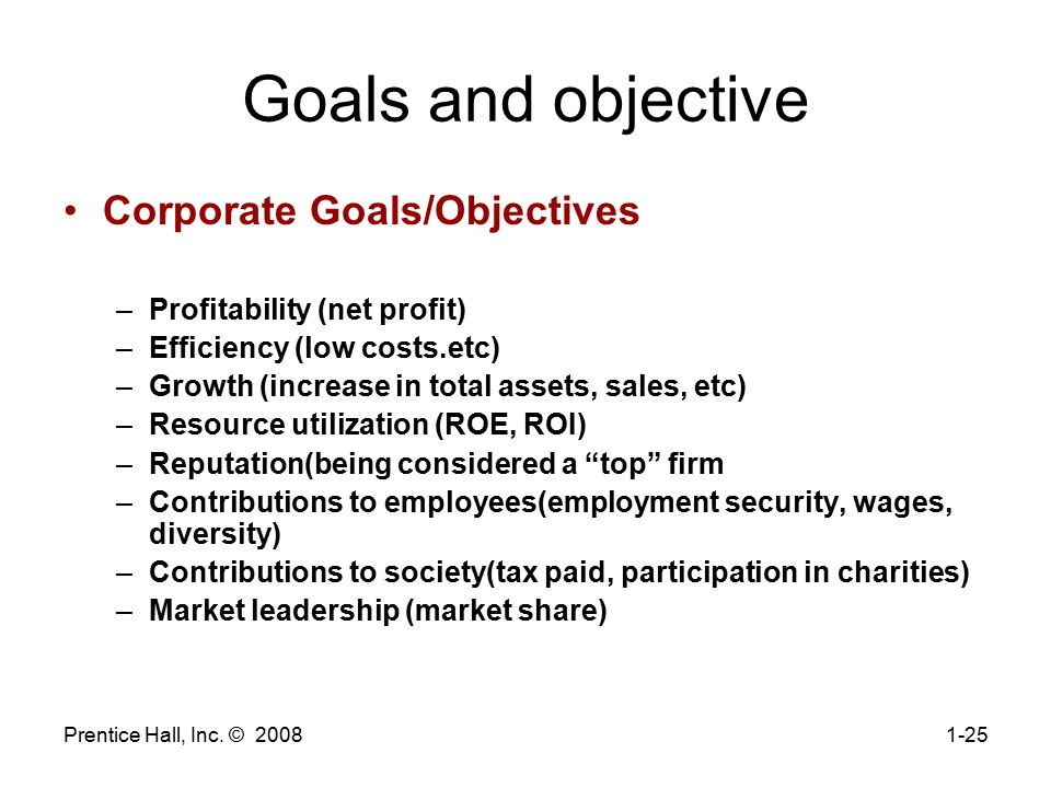 Goals and objective Corporate Goals/Objectives