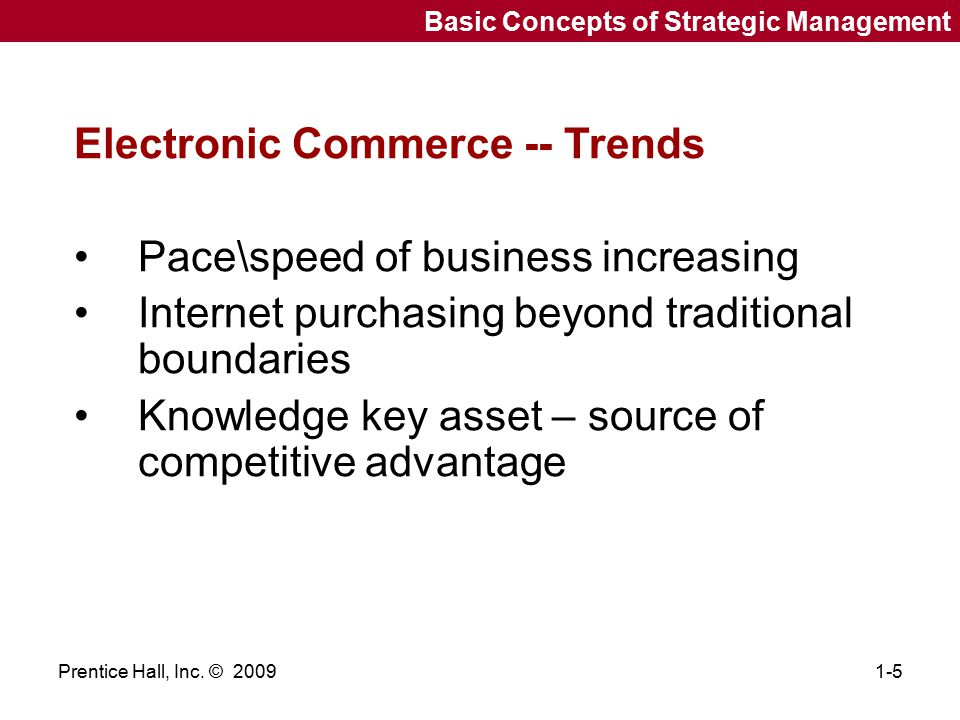 Electronic Commerce -- Trends Pace\speed of business increasing