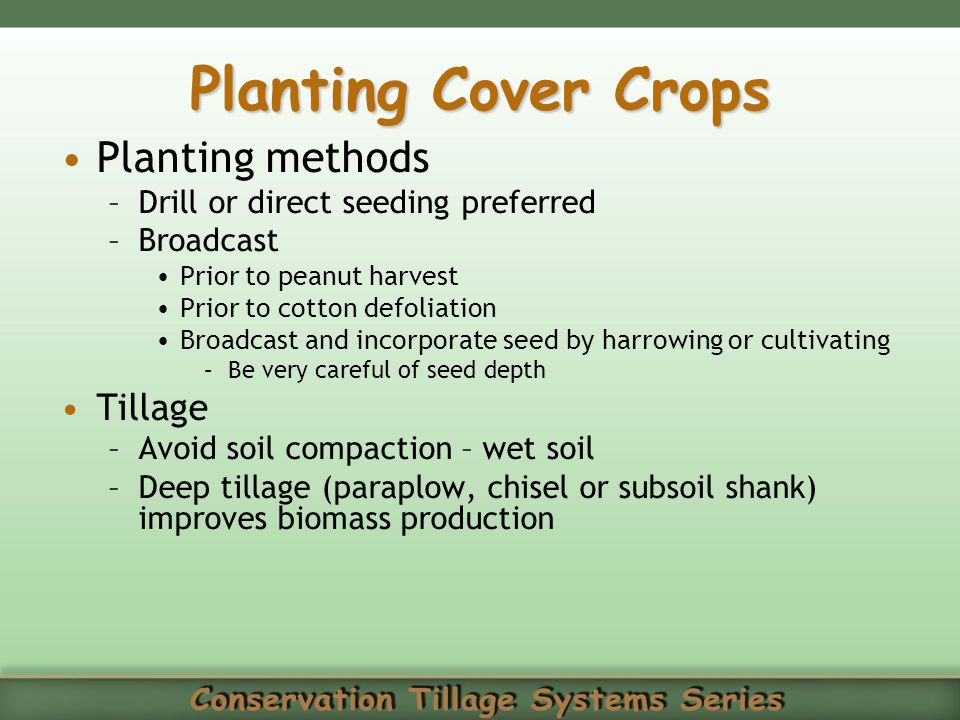 Planting Cover Crops Planting methods Tillage