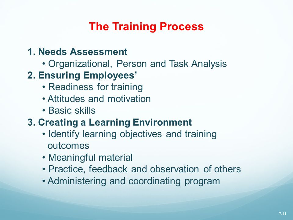 The Training Process 1. Needs Assessment