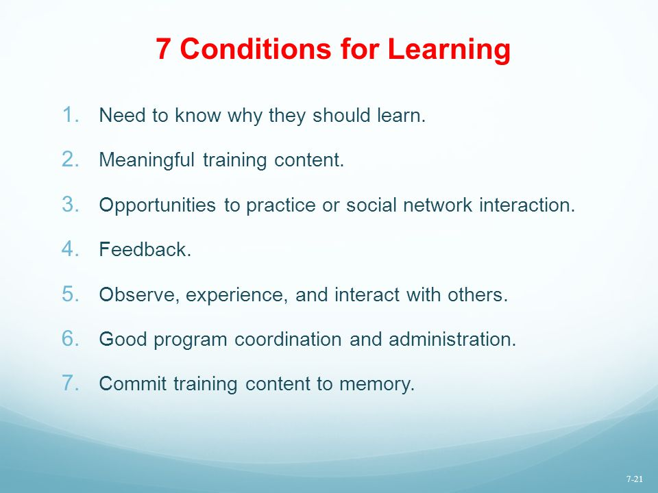 7 Conditions for Learning