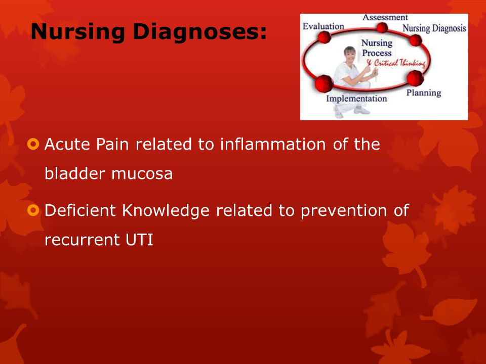 Nursing Diagnoses: Acute Pain related to inflammation of the bladder mucosa.
