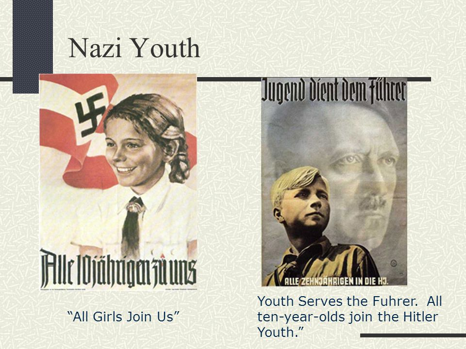a discussion on nazi propaganda towards youth Once the nazis came to power goebbels developed the nazi's use of propaganda to even greater effect  a month towards the ownership of a 'people's car .