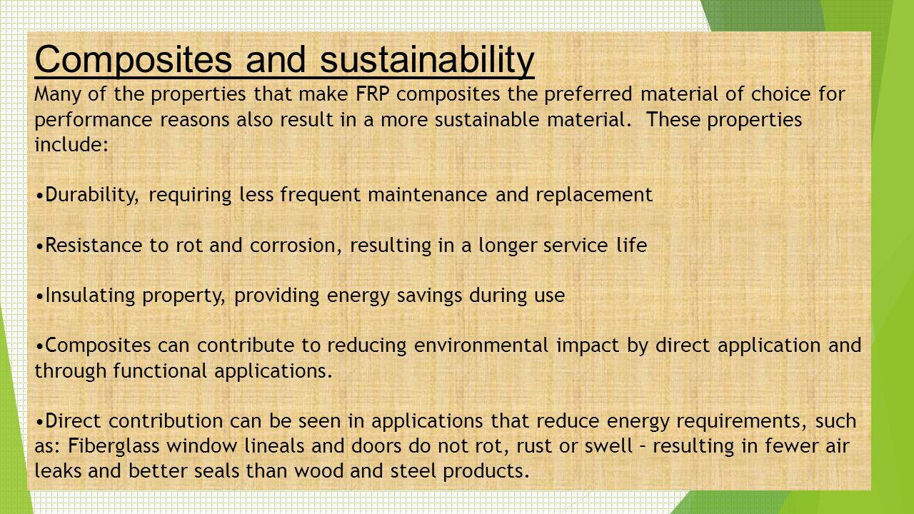 Composites and sustainability