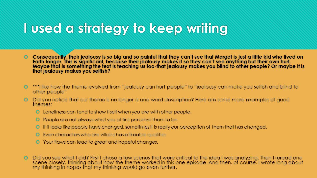 Long essay strategy