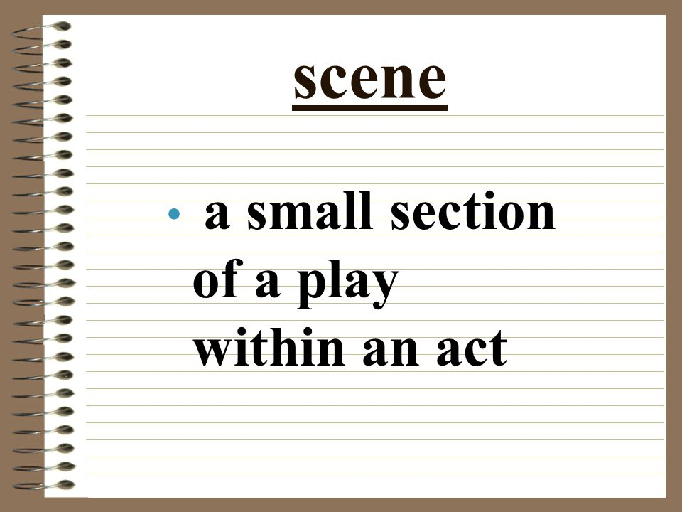scene a small section of a play within an act