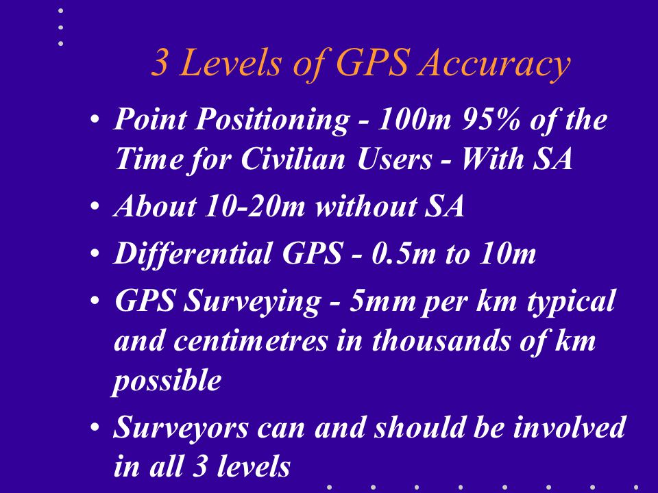 3 Levels of GPS Accuracy Point Positioning - 100m 95% of the Time for Civilian Users - With SA. About 10-20m without SA.