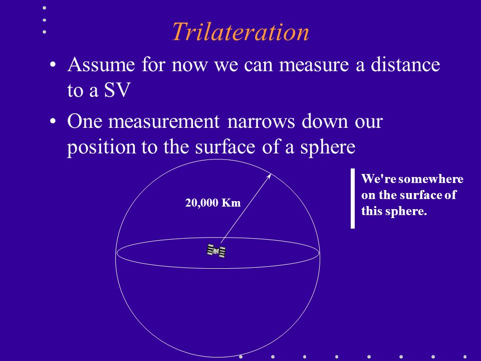 Trilateration Assume for now we can measure a distance to a SV