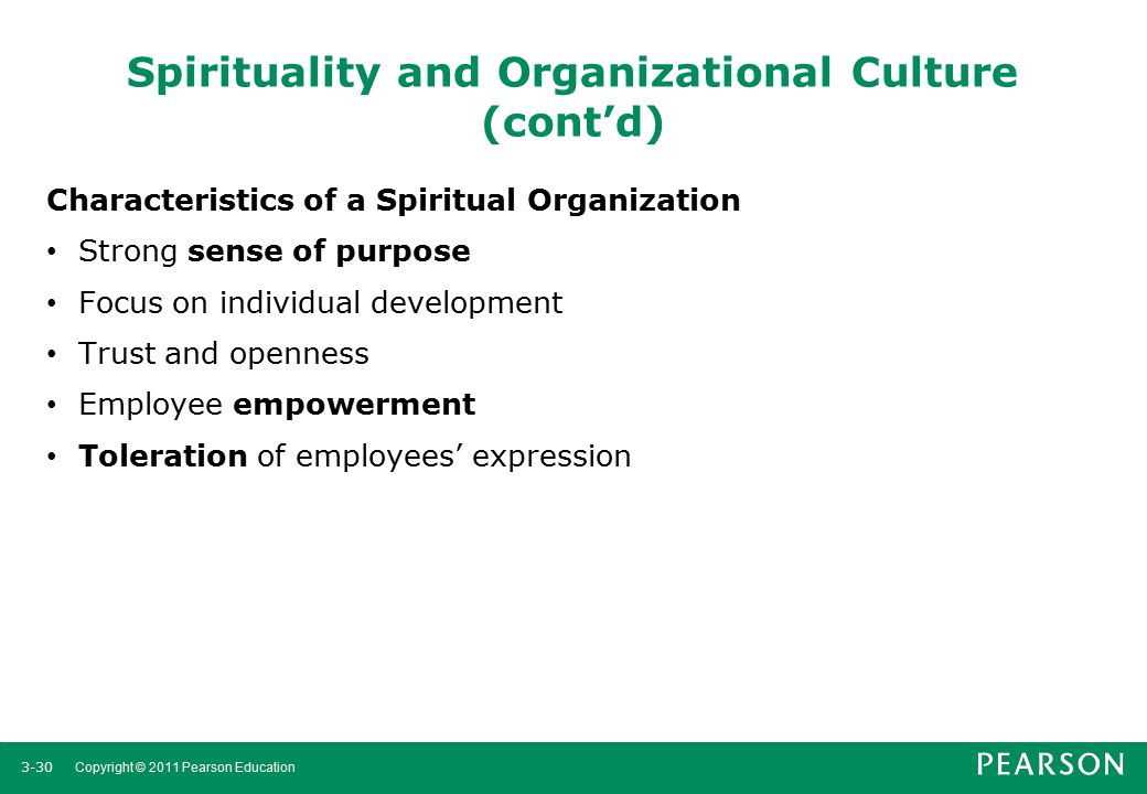 Spirituality and Organizational Culture (cont'd)
