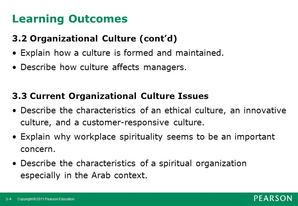Learning Outcomes 3.2 Organizational Culture (cont'd)