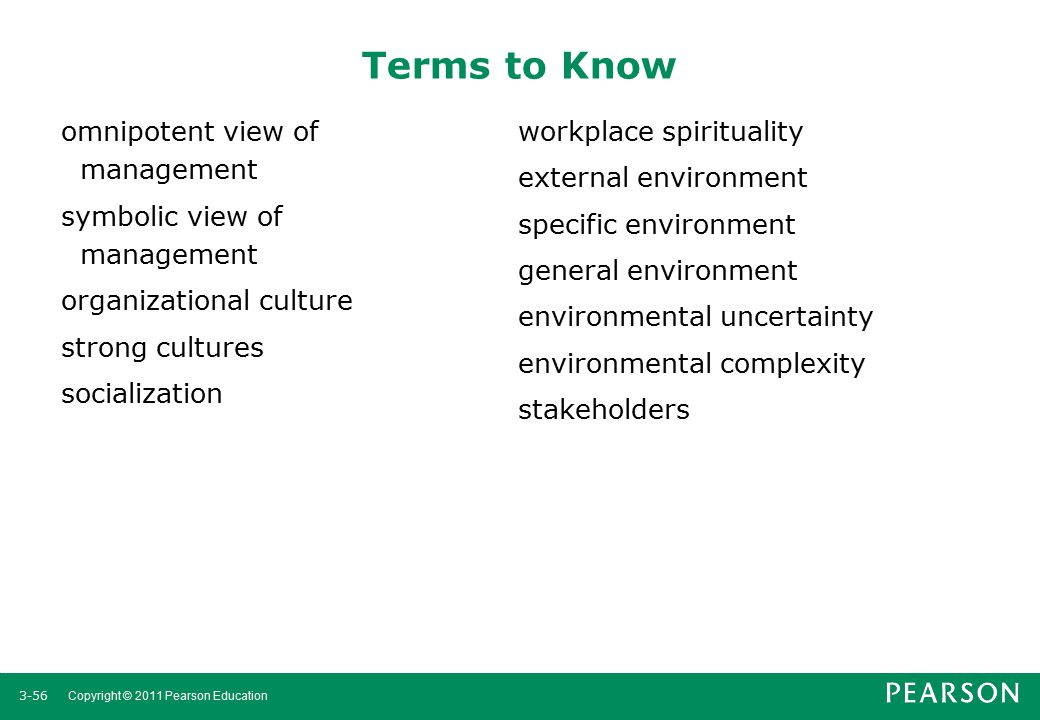 Terms to Know omnipotent view of management symbolic view of management organizational culture strong cultures socialization