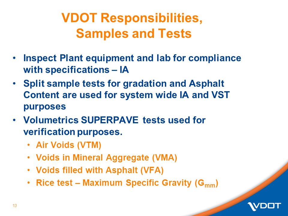 VDOT Responsibilities, Samples and Tests