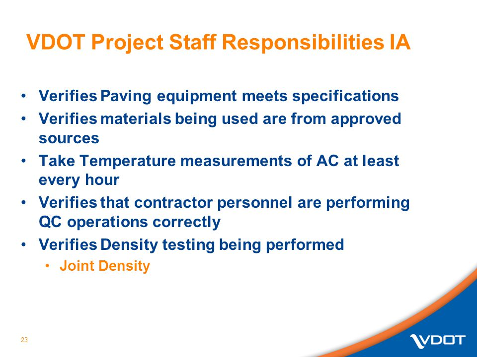 VDOT Project Staff Responsibilities IA