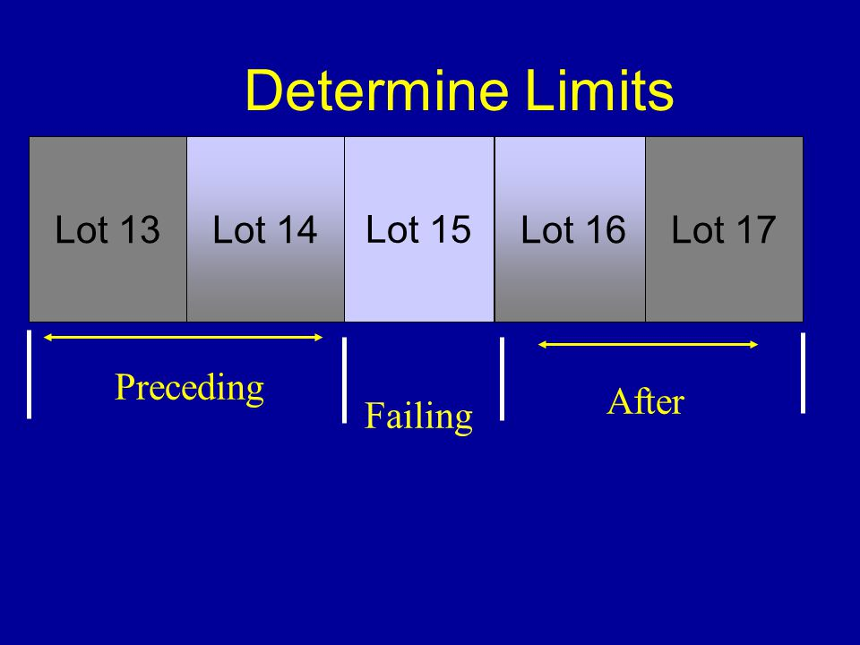 Determine Limits Lot 13 Lot 14 Lot 15 Lot 16 Lot 17 Preceding After