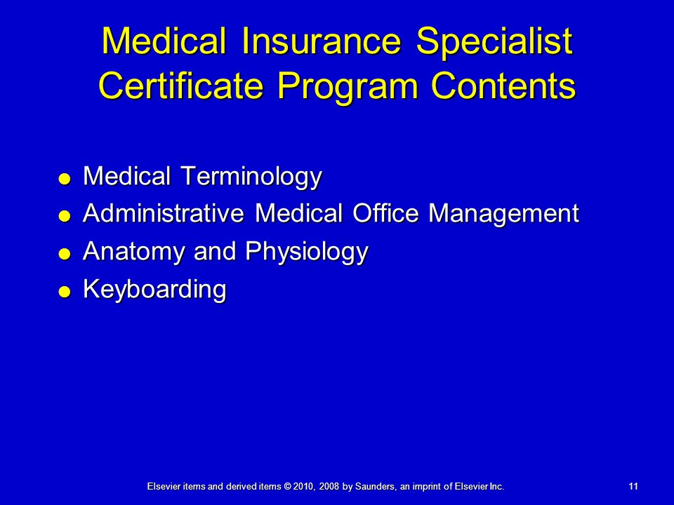 Medical Insurance Specialist Certificate Program Contents