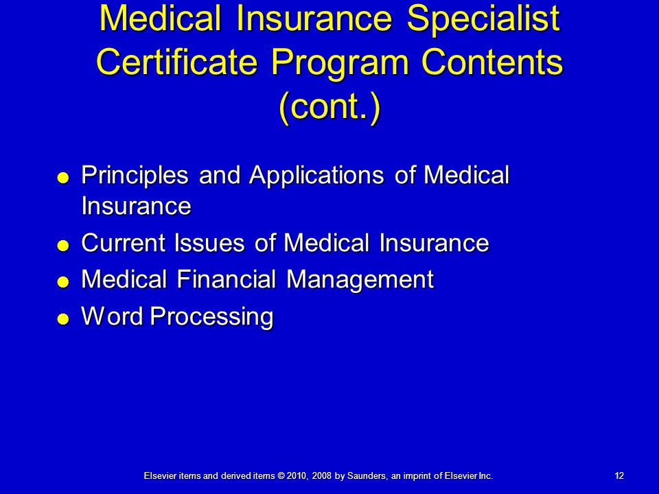Medical Insurance Specialist Certificate Program Contents (cont.)