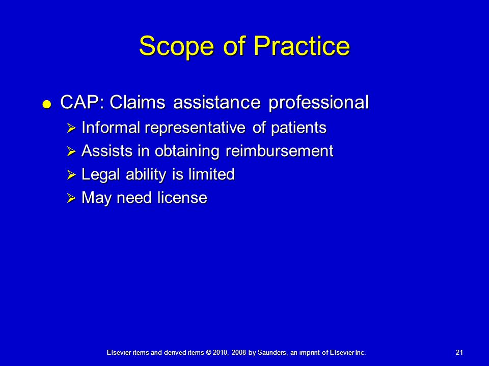 Scope of Practice CAP: Claims assistance professional