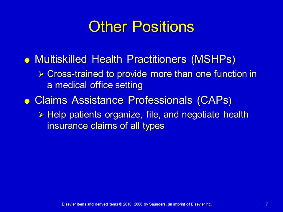 Other Positions Multiskilled Health Practitioners (MSHPs)