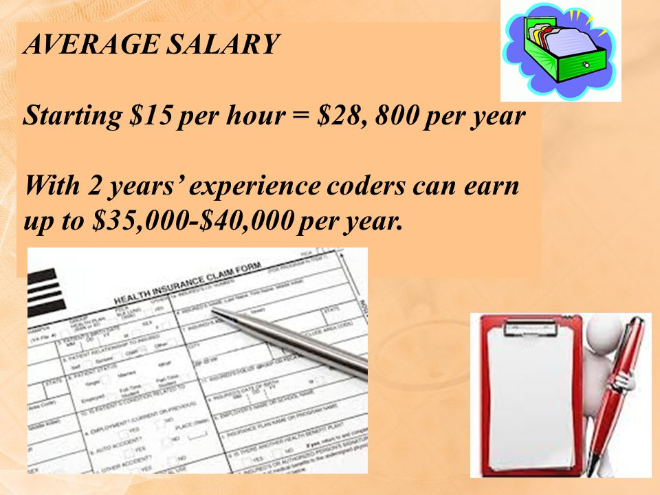 Average Salary Starting $15 per hour = $28, 800 per year.