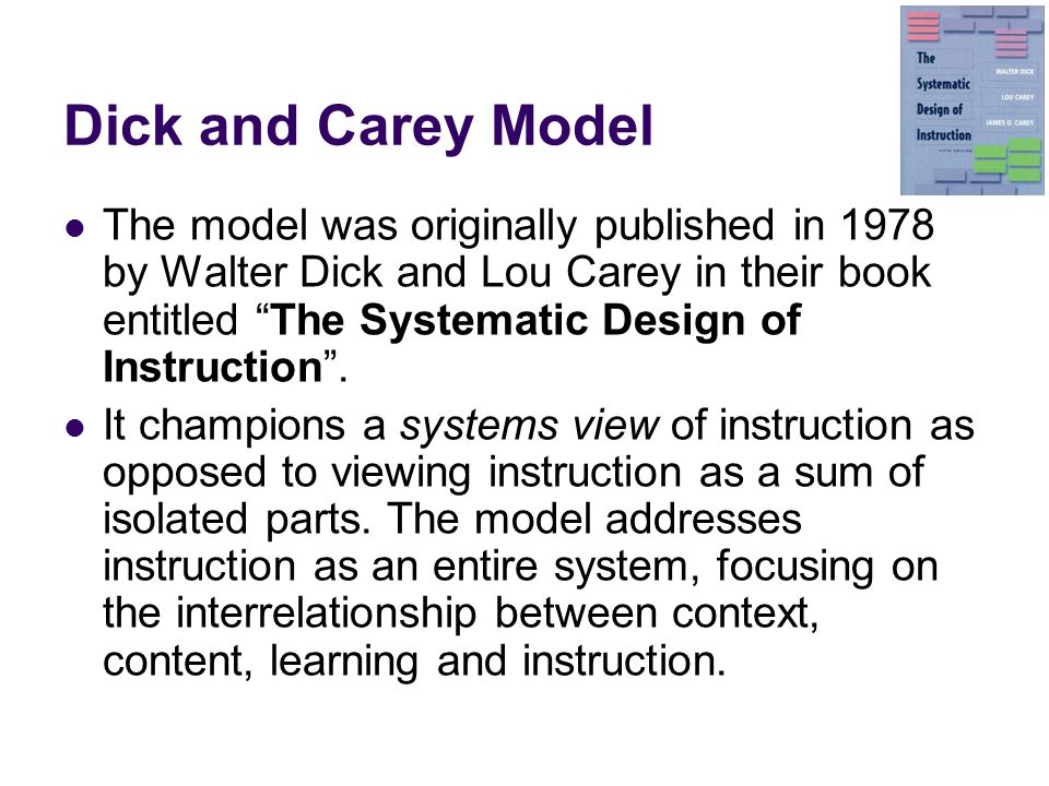 Dick and Carey Instructional Model - Educational Technology