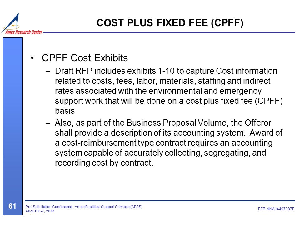 Ames facilities support services ppt download for Cost plus contract