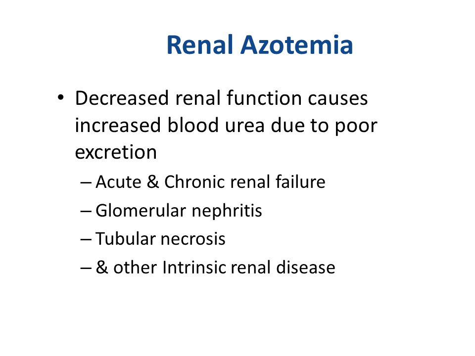 Renal Azotemia Decreased renal function causes increased blood urea due to poor excretion. Acute & Chronic renal failure.