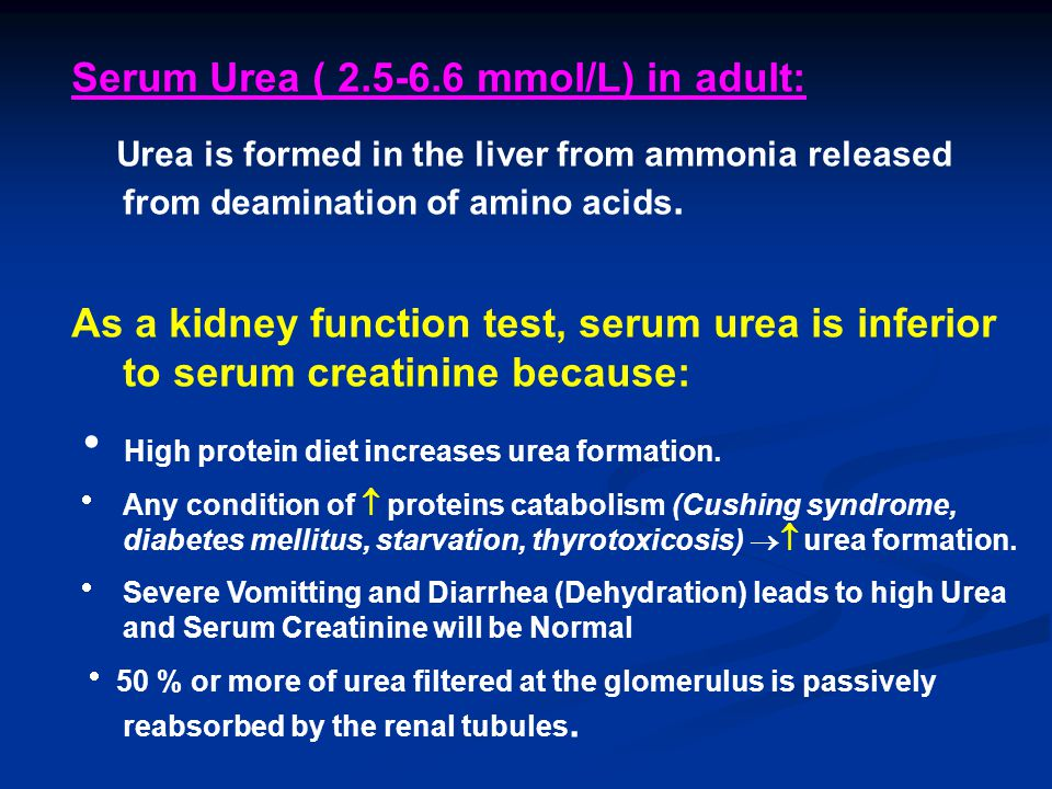 Serum Urea ( mmol/L) in adult: