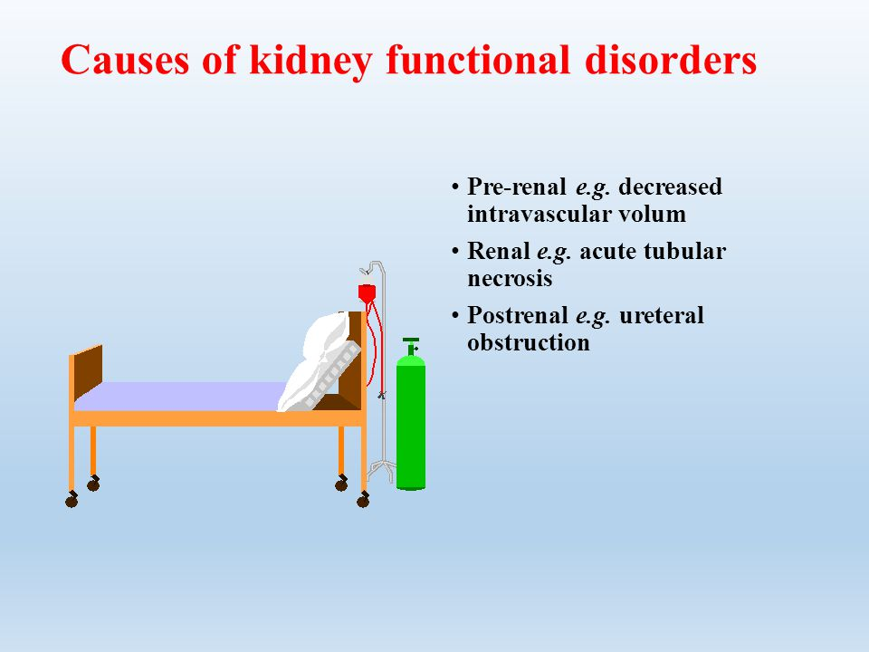 Causes of kidney functional disorders