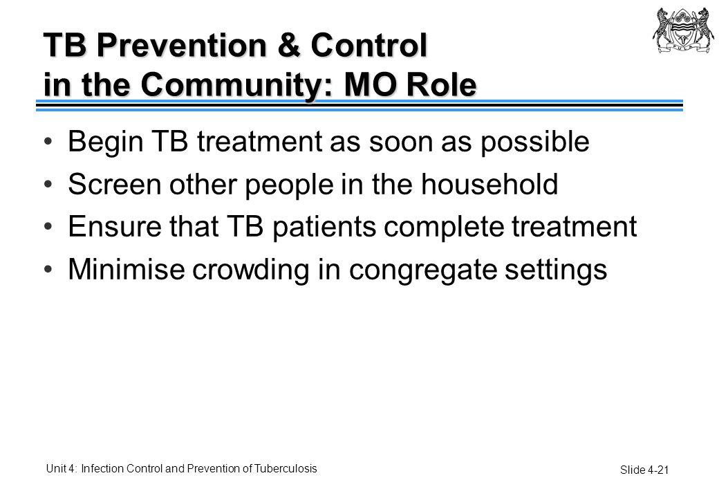 TB Prevention & Control in the Community: MO Role