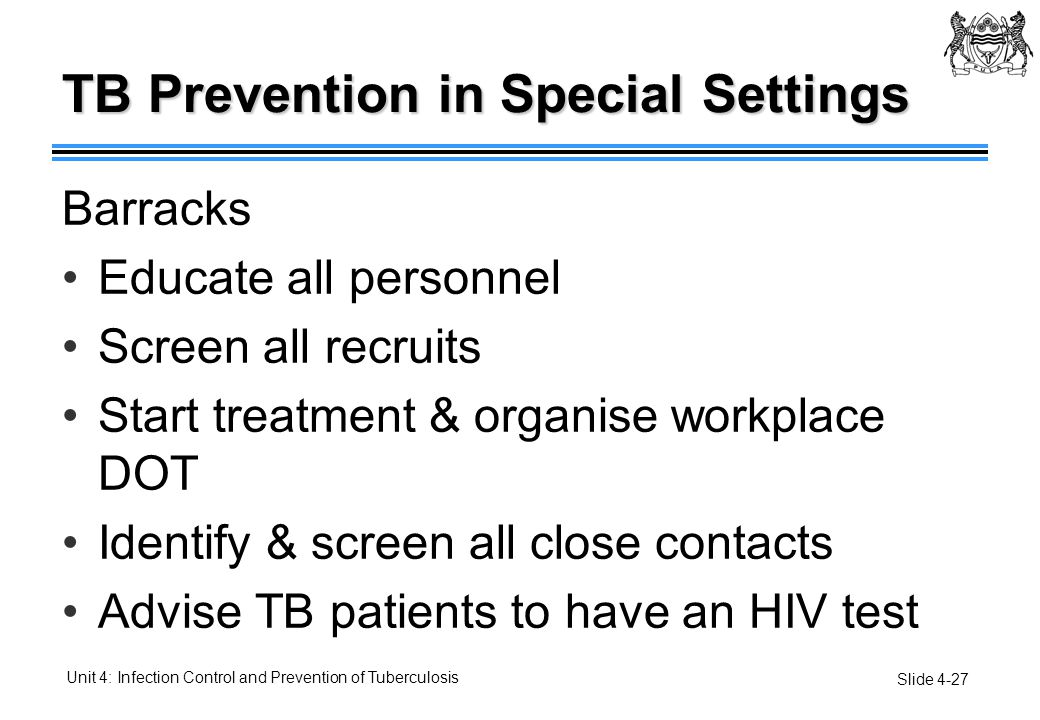 TB Prevention in Special Settings