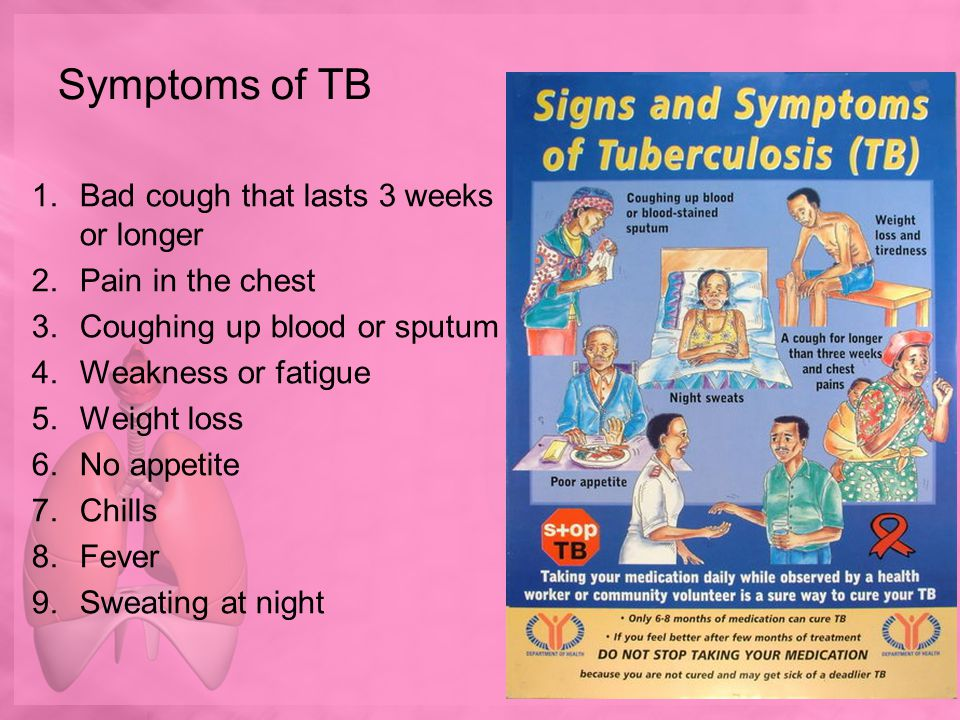 Symptoms of TB Bad cough that lasts 3 weeks or longer