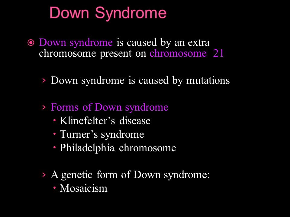 an analysis of mosaicism in down syndrome genetic disorder Several cases of mosaicism in down's syndrome are now  a i3-i5/2i  translocation(franceschini, volante,  chromosomal analysis of the mother's  leucocytes.